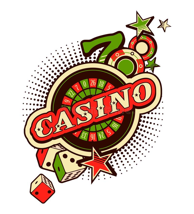 Casino logo on a white background. Vector Casino emblem on a white background with elements of winning and luck royalty free illustration