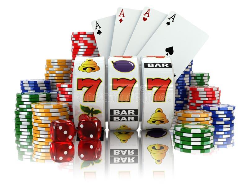 casino Máquina tragaperras con bote, los dados, las tarjetas y los microprocesadores ilustración del vector