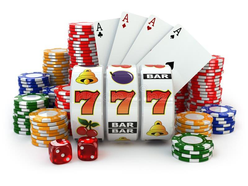 casino Machine à sous avec le gros lot, les matrices, les cartes et les puces illustration de vecteur