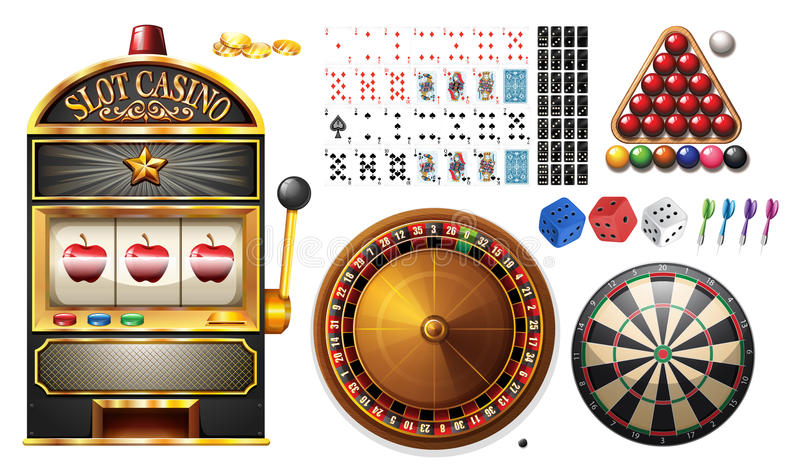 Casino machines and games vector illustration