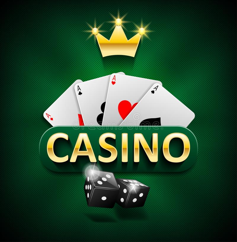 Casino marketing banner with dice and poker cards on green background. Playing jackpot and gambling casino games design stock illustration