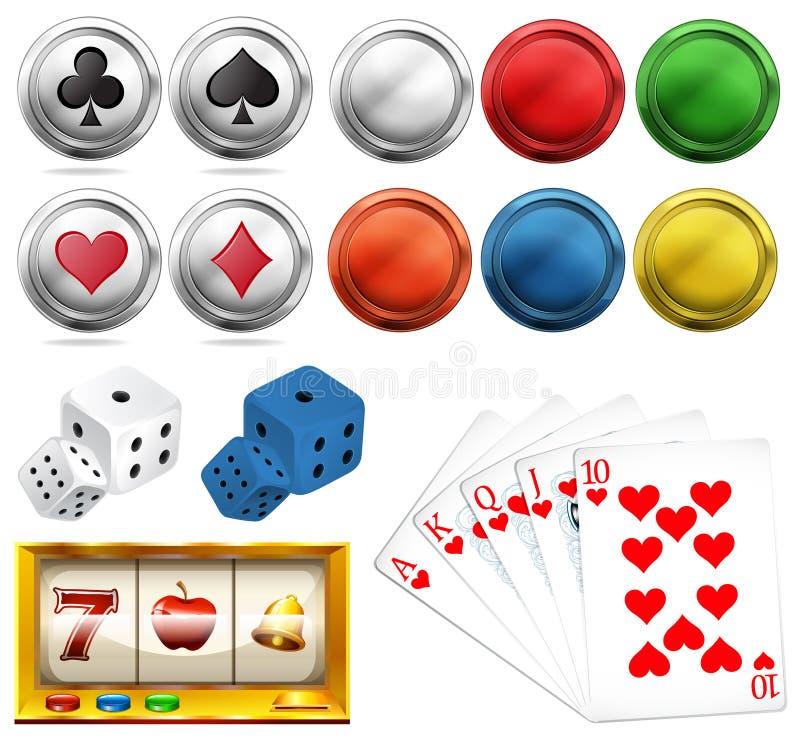 Casino met tekenen en kaarten wordt geplaatst die vector illustratie