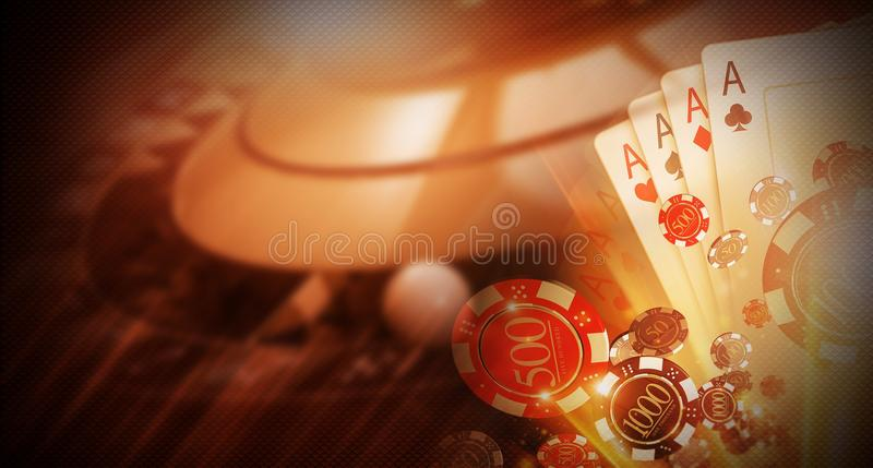 Casino Money Games Bet. 3D Concept Illustration. Conceptual Casino Background with Roulette Wheel, Blackjack Cards and Betting Chips stock illustration