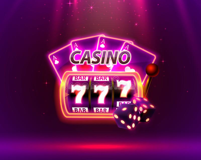 Casino Neon cover, slot machines and roulette with cards, Scene background art. Vector illustration vector illustration