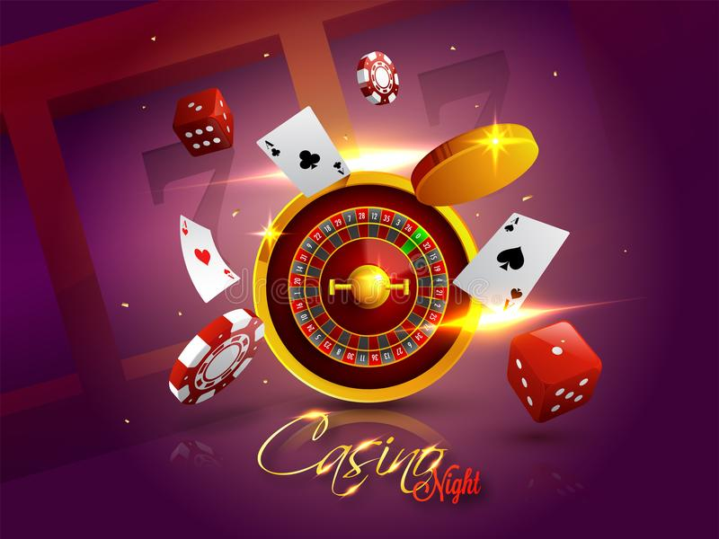 Casino Night background with 3D Chips, Coins, Dice, Roulette. Casino Night background with 3D Chips, Coins, Dice, Roulette Wheel and Playing cards on shiny stock illustration