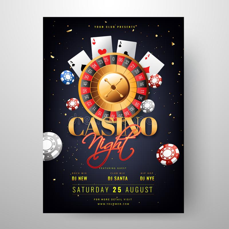 Casino Night party invitation card design with roulette wheel illustration. vector illustration