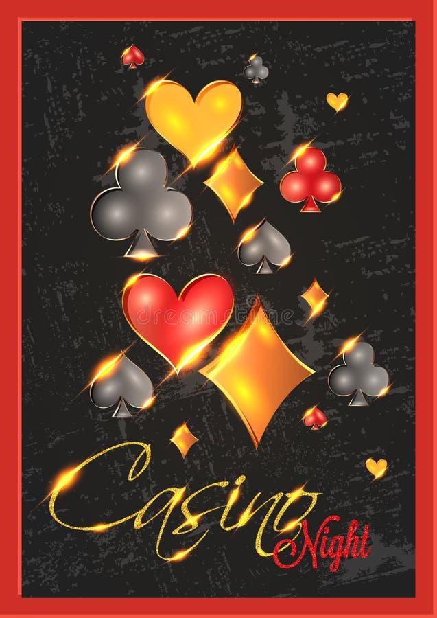 Casino Night party invitation card design with spade, heart, diamond and club symbols. Casino Night party invitation card design with spade, heart, diamond and vector illustration