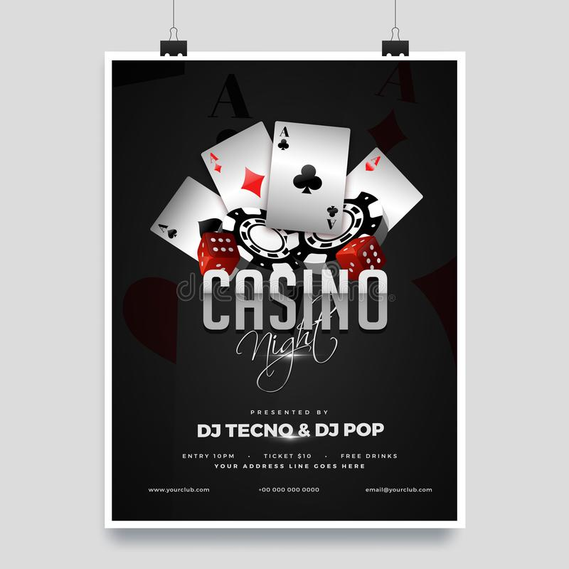 Casino night party template design with casino element on shiny black background. royalty free illustration