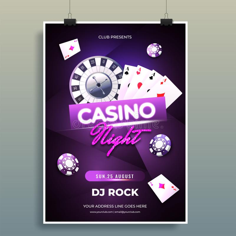 Casino Night party template design with realistic roulette wheel, playing cards and casino chips illustration. vector illustration