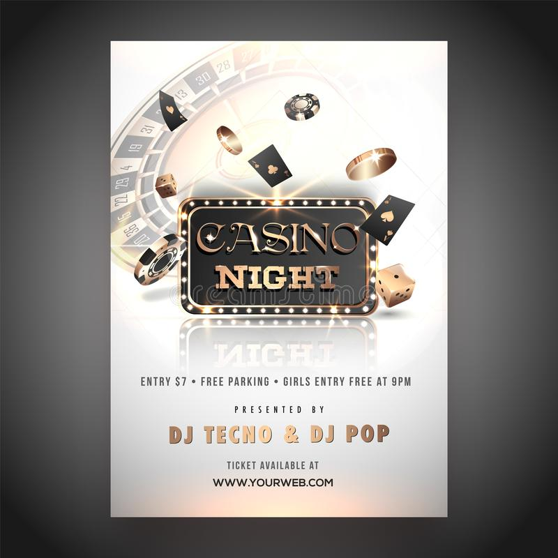 Casino night party template or flyer design with 3D chips, coins and playing cards. Casino night party template or flyer design with 3D chips, coins and playing stock illustration