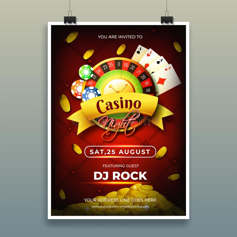 Casino night template or flyer design with chips, coins, playing cards. Casino night template or flyer design with chips, coins, playing cards and roulette royalty free illustration