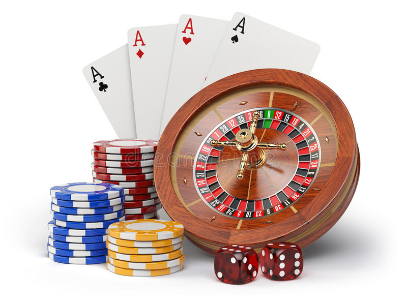 Casino o gambling concept. Roulette, casino chips, cards and dice isolated on white background. 3d illustration stock illustration