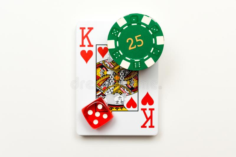 Casino objects playing cards dice casino chips isolated on white for playing chance and gambling games royalty free stock photos