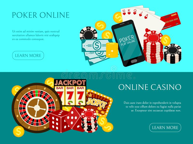 Casino online banner vector illustration. Includes roulette, casino chips, playing cards, winning money. Sack of money royalty free illustration