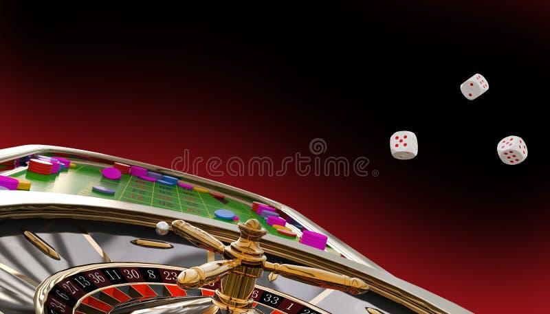Casino Online, Cartões de Poker, roleta, chips de casino,Concepto Criativo de Backdrop Gráfico de Banner de Jogo Casino em Vermel ilustração stock