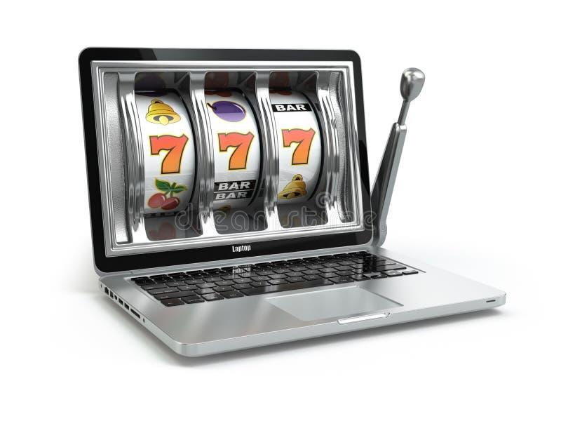 Casino online concept, gambling. Laptop slot machine. stock illustration