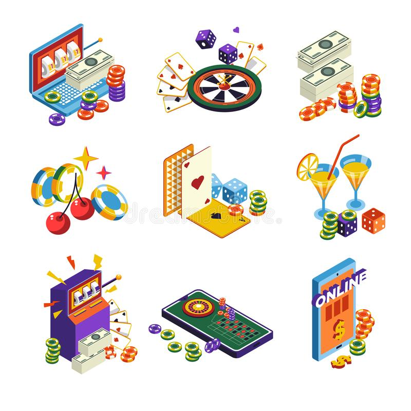 Casino online isolated icons, poker and slot machine, roulette and dice. Poker and slot machine, roulette and dice, casino isolated icons vector. Laptop and vector illustration