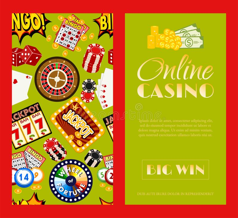 Casino online set of banners vector illustration. Includes roulette, casino chips, playing cards, winning jackpot. Sack vector illustration