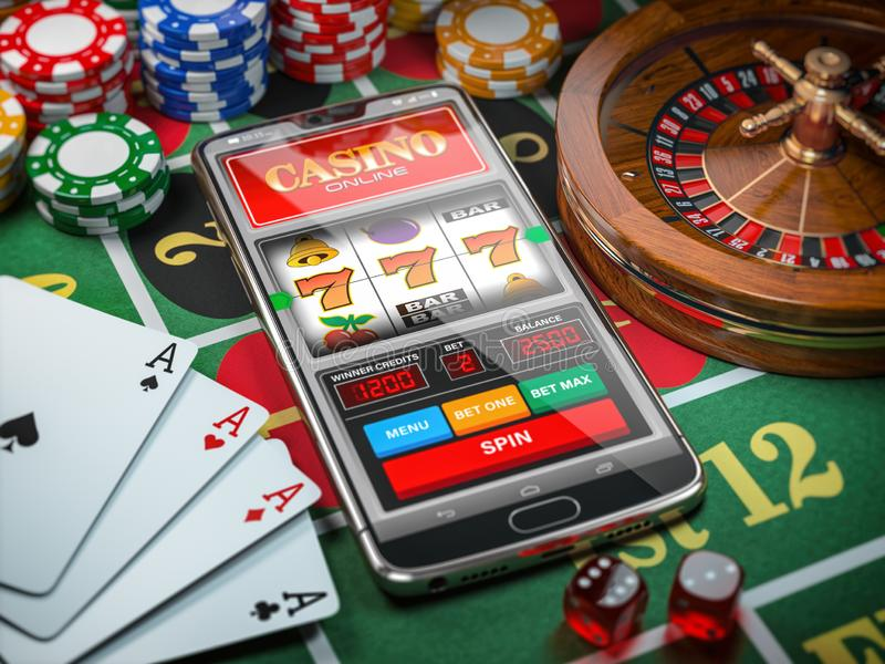 Casino online. Smartphone or mobile phone, slot machine, dice, cards and roulette on a green table in casino royalty free illustration