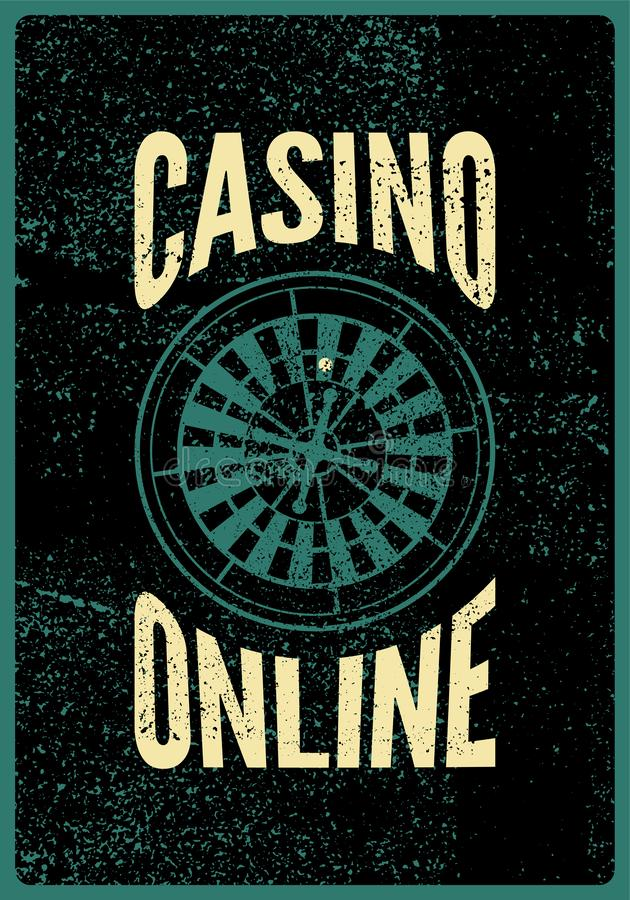 Casino Online typographical vintage grunge style poster with roulette wheel. Retro vector illustration. vector illustration