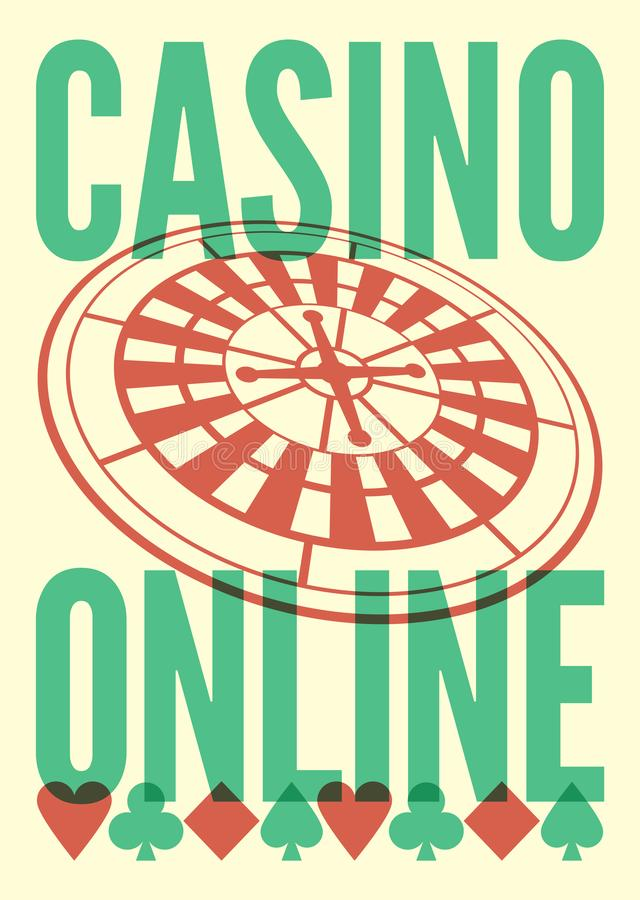 Casino Online typographical vintage style poster with roulette wheel. Retro vector illustration. Casino Online typographical vintage style poster with roulette stock illustration
