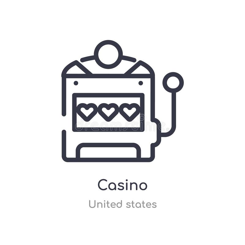 casino outline icon. isolated line vector illustration from united states collection. editable thin stroke casino icon on white royalty free illustration