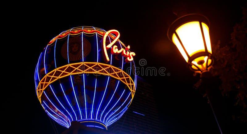 Casino Paris, illuminated sign at night. stock images