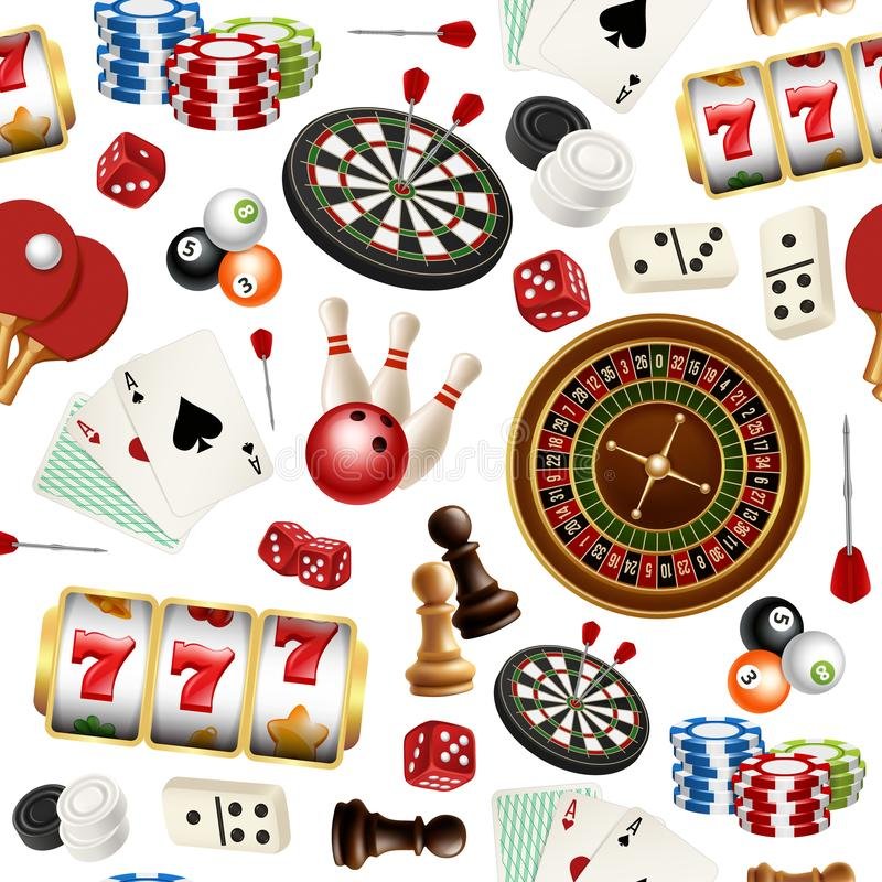 Casino pattern. Poker cards doodle domino bowling darts roulette checkers vector symbols of games seamless realistic stock illustration