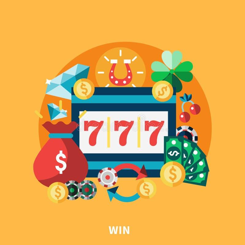 Casino Pockie Machine Round Composition. Casino pockie machine icons round composition with coins money gold chips symbols flat vector illustration stock illustration