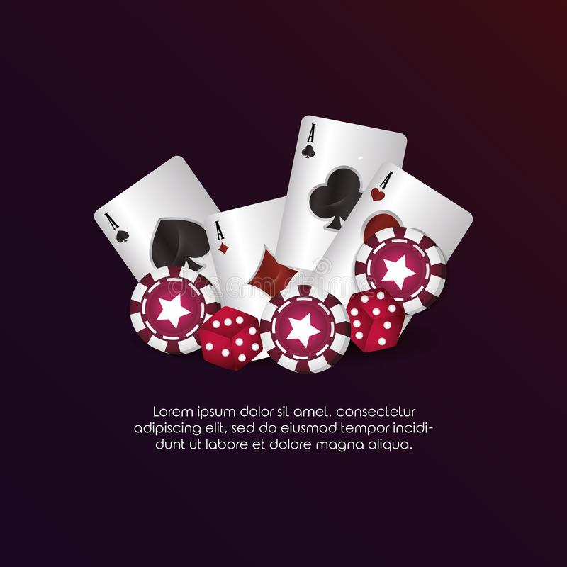 Casino poker aces cards dices chips gambling. Vector illustration stock illustration