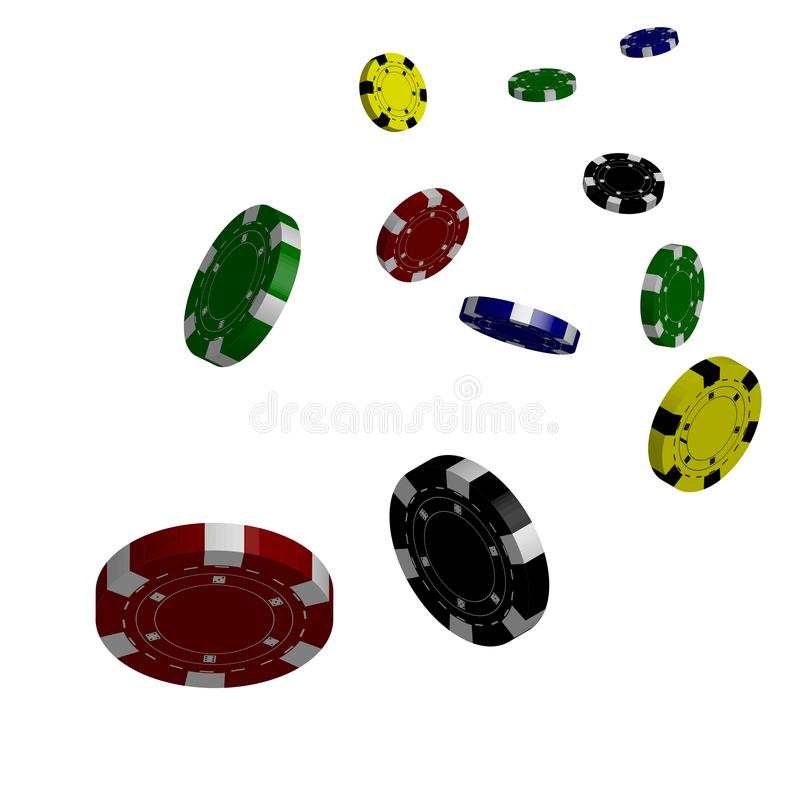 Casino poker background. Falling chips concept, isolated on whit royalty free illustration