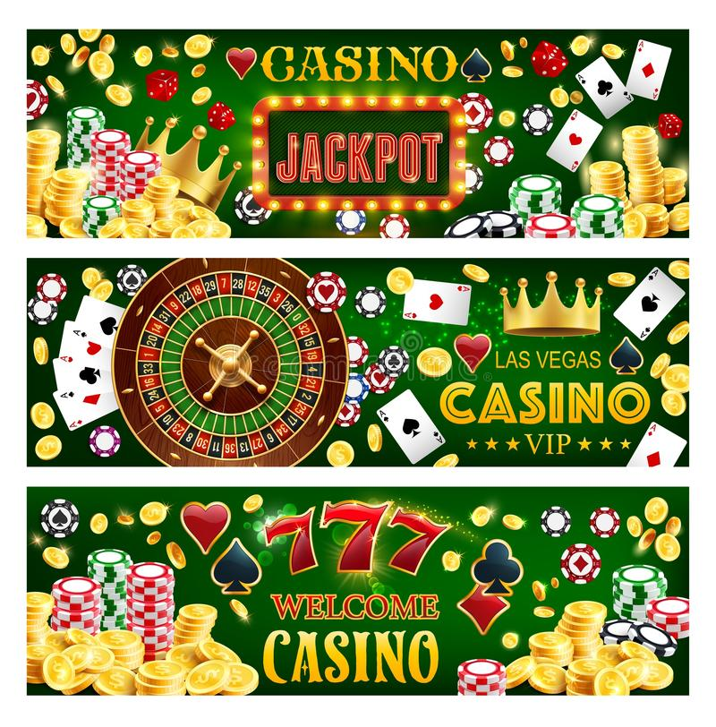 Casino poker big win, wheel of fortune, jackpot. Casino poker gambling roulette, jackpot big win and lucky 7 banners. Casino vector poker cards and wheel of stock illustration
