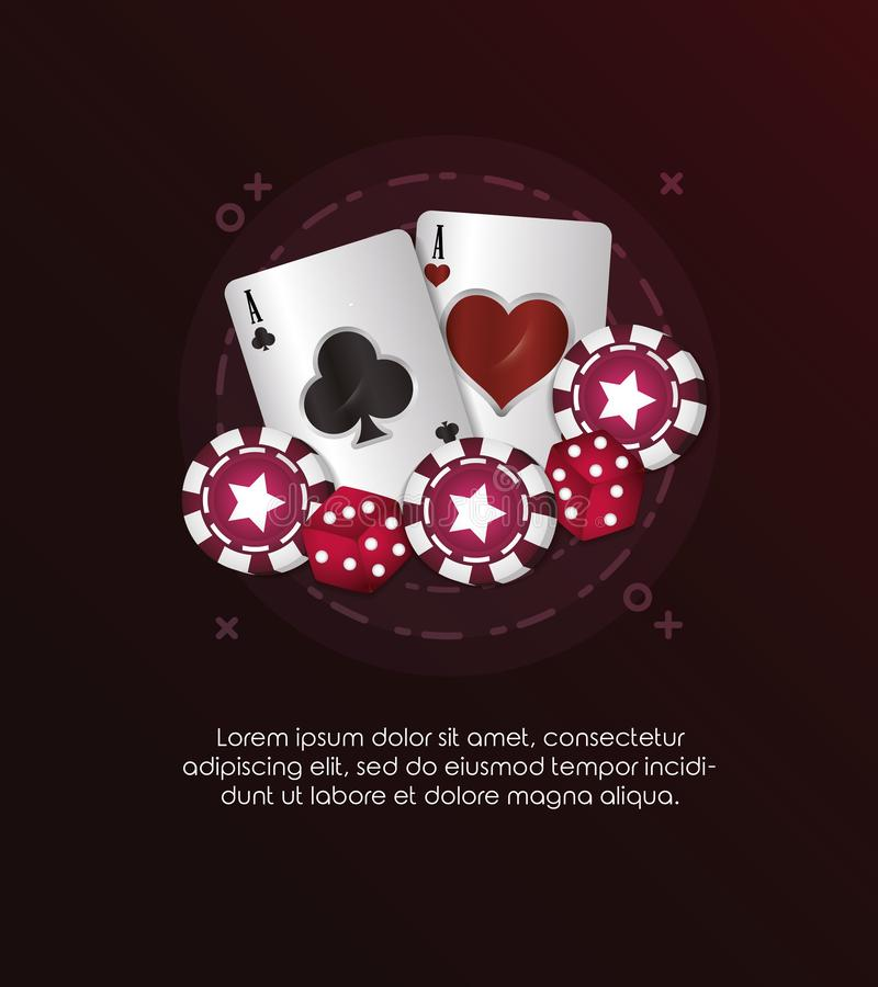Casino poker card aces dices and chips gambling. Vector illustration royalty free illustration