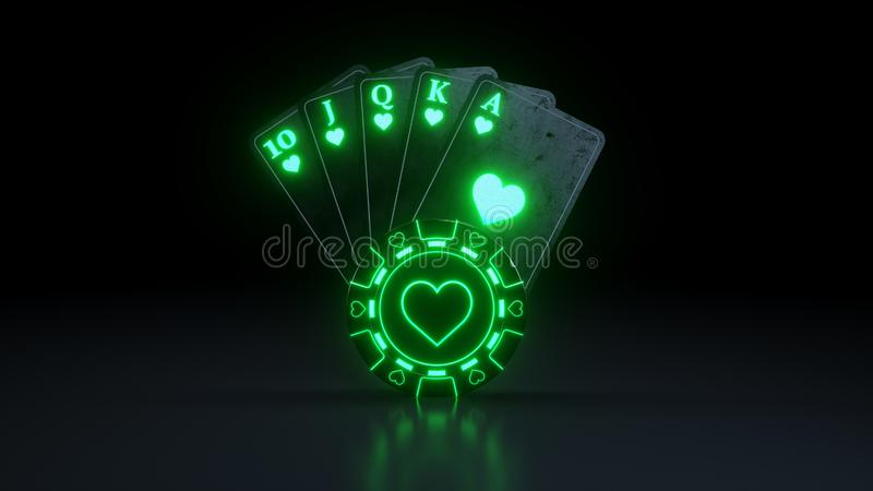 Casino Poker Cards Concept Royal Flush in Hearts With Neon Lights Isolated On The Black Background - 3D Illustration. Casino Gambling Futuristic Concept, Poker vector illustration