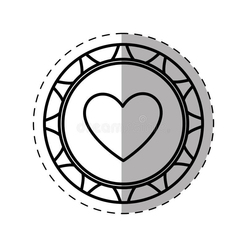 Casino poker chip heart thin line. Illustration eps 10 stock illustration