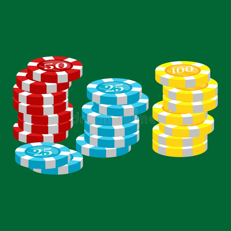 Casino poker chip for risk game in vegas, lucky gambling play in betting for chance on winning isolated vector. Illustration royalty free illustration