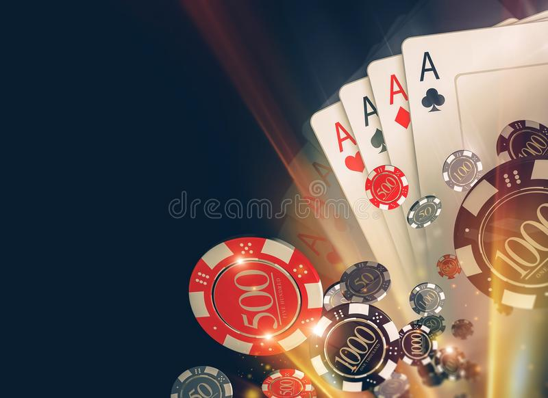 Casino Poker Chips Backdrop. Casino Poker Chips Background with Copy Space. Casino Games 3D Illustration royalty free illustration