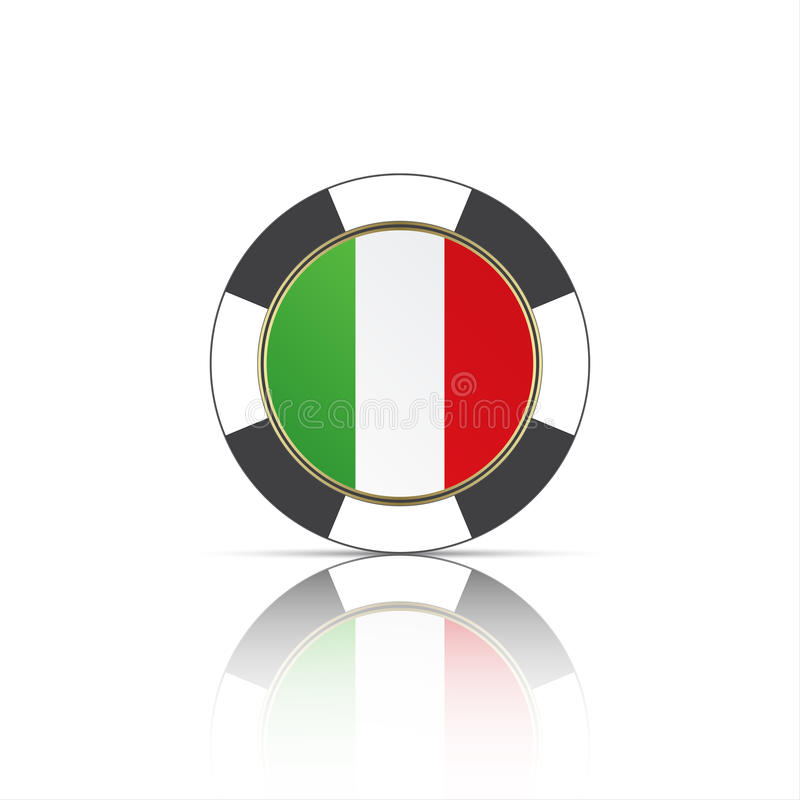 Casino poker chips with Italian flag. Simple vector illustration isolated on white background stock illustration