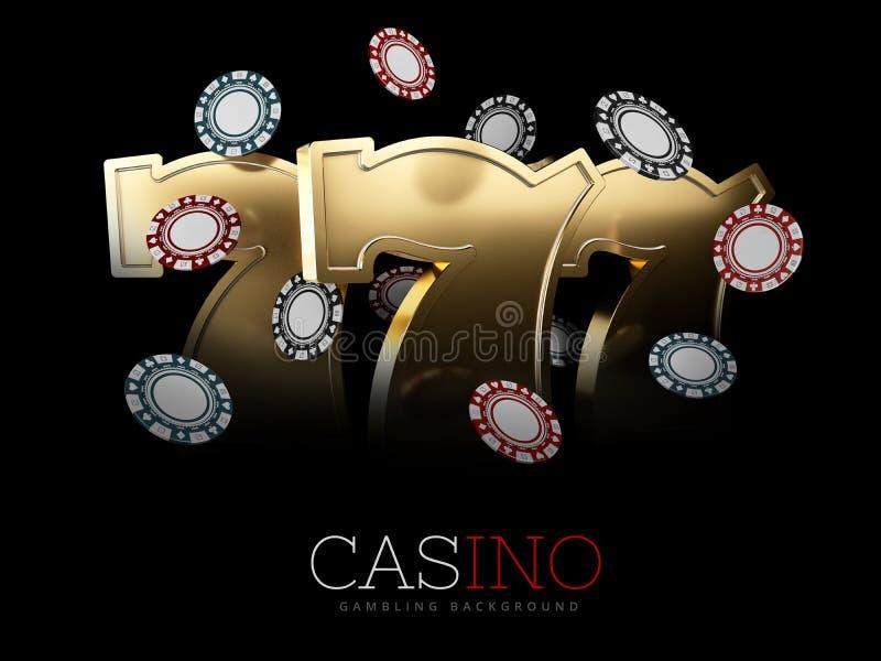Casino Poker Chips and roulette sign. Casino Games, 3D Illustration.  vector illustration