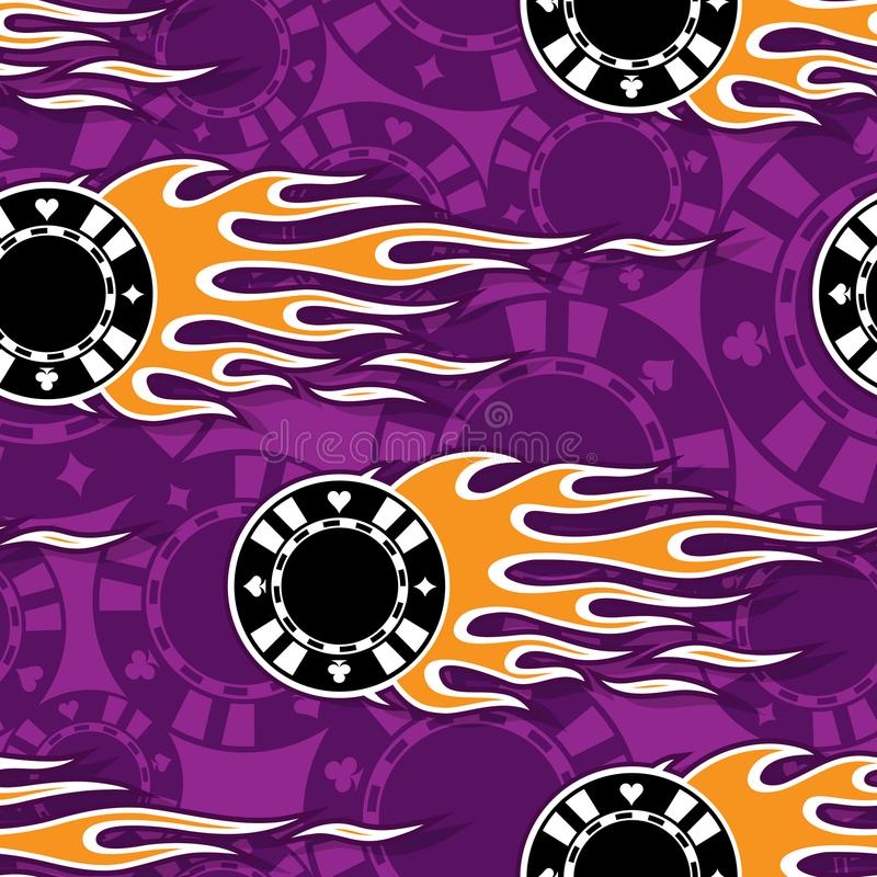 Seamless vector pattern with casino poker chips icon and classic hot rod flame. Casino poker chips symbols printable seamless pattern with hotrod flames. Vector royalty free illustration