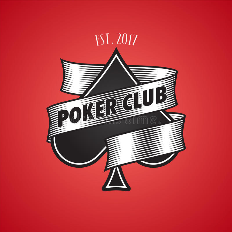 Casino, poker club logo, icon. Illustration with spade cards suit. For gambling concept royalty free illustration