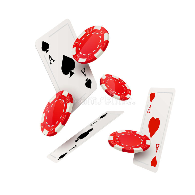 Casino poker design template. Falling poker cards and chips game concept. royalty free illustration