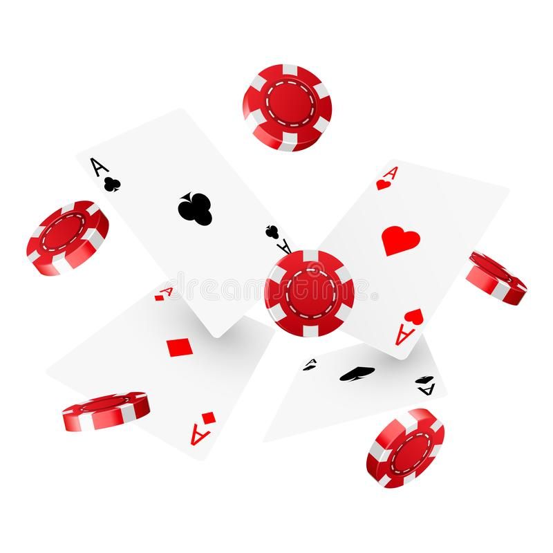 Casino poker design template. Falling poker cards and chips. Winner concept. Casino lucky background. Vector illustration stock illustration