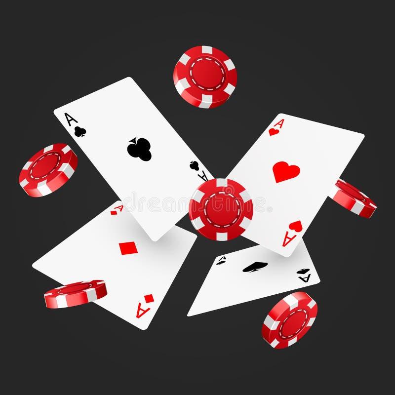 Casino poker design template. Falling poker cards and chips. Winner concept. Casino lucky background. Vector illustration vector illustration