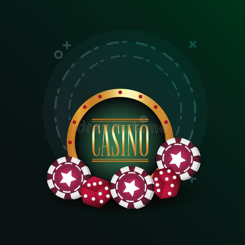 Casino poker gamble dices and chips poster. Vector illustration vector illustration