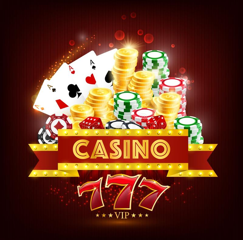 Casino poker game cards, dice, chips and coins stock illustration