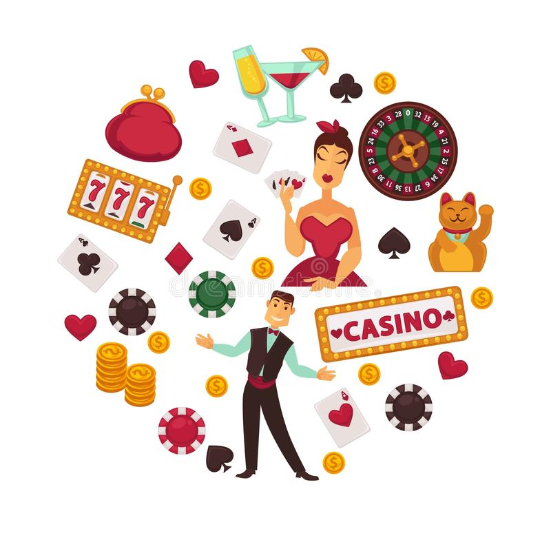 Casino poker game or gambling bets poster of roulette playing cards, chips and dice vector icons vector illustration