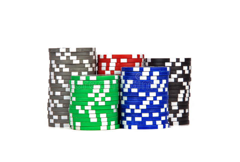 Casino / poker / games chips. Over white background stock photos