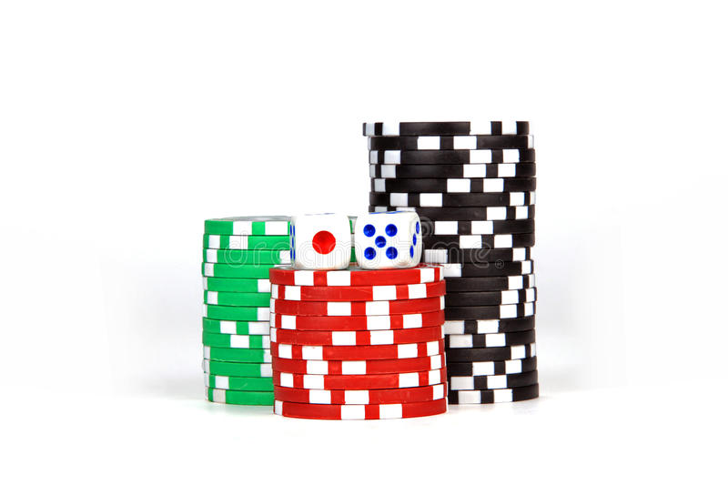 Casino / poker / games Chips and dices royalty free stock photo