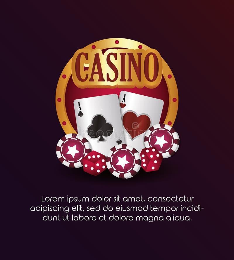Casino poker golden sign cards chips dices. Vector illustration vector illustration